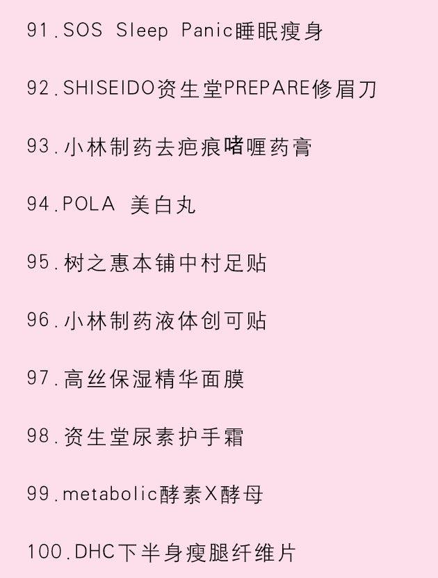 日本药妆清单